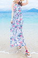 White Blue  and Pink Chiffon Printed Off-Shoulder Full Skirt Maxi Slip Dress for Casual Beach