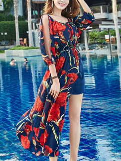 Blue and Red Chiffon Off-Shoulder Band Belt Furcal Printed Adjustable Waist Plus Size Dress for Casual Beach