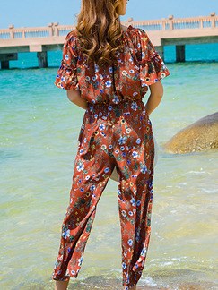 Brown Colorful Chiffon Jumpsuit Multi-wear Adjustable Waist Printed Ruffled Off Shoulder Jumpsuit for Casual Beach
