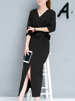Black Slim V Neck Furcal Pleated Plus Size Midi Dress for Casual Office Evening