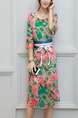 Pink and Green Chiffon Plus Size Printed Flare Sleeve Slim Furcal Two-Piece Cute Knee Length Dress for Casual Party Evening