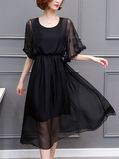Black Chiffon Plus Size Flare Sleeve Adjustable Waist Twist Pattern Midi Dress for Casual Party Office