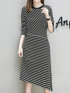 Black and White Knitted Plus Size Lace Stripe Linking Asymmetrical Hem Furcal Band Belt Long Sleeve Dress for Casual Party