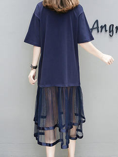 Blue Knitted Linking Mesh Plus Size Loose Located Printing See-Through Midi Dress for Casual