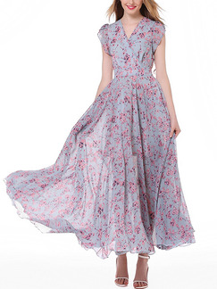 Blue and Pink Chiffon Full Skirt Slim Printed V Neck Bubble Sleeve Plus Size Dress for Casual