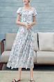 White Colorful Slim Full Skirt Printed Linking Lace Band Furcal Plus Size Floral Off Shoulder Dress for Casual Beach
