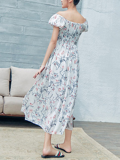 White Colorful Slim Full Skirt Printed Linking Lace Band Belt Furcal Plus Size Floral Off Shoulder Dress for Casual Beach