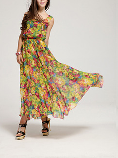 Colorful Chiffon Full Skirt Printed Adjustable Waist Plus Size Dress for Casual Party