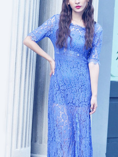 Blue Lace Slim Furcal A-Line See-Through Plus Size Dress for Casual Party Evening