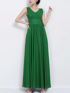Green Chiffon Slim Full Skirt V Neck Pleated Plus Size Dress for Semi Formal Evening Party