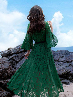Green Lace Two-Piece Slim Full Skirt Flare Sleeve Plus Size Dress for Casual Party
