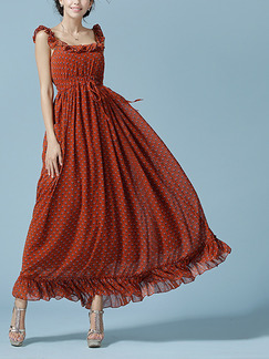 Brown Chiffon Ruffled Slim Full Skirt Printed Open Back Band Belt Adjustable Waist Dress for Casual Party Beach