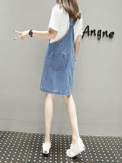 Blue Plus Size Denim Strap Buckled Knee Length Dress for Casual