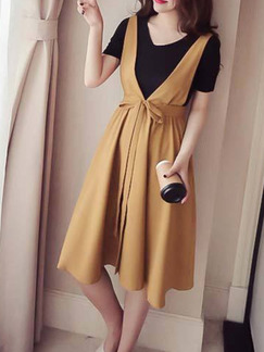 Black and Beige Plus Size Two-Piece Strap Full Skirt Band Belt Knee Length Dress for Casual Party Office Evening