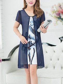 Blue and White Chiffon Seem-Two Contrast Printed Rhinestone Above Knee Plus Size Floral Dress for Casual Party Office
