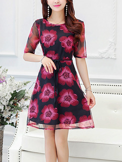 Pink and Black Plus Size Slim A-Line Printed Band Belt Above Knee Floral Dress for Casual Party