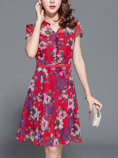 Pink Chiffon Plus Size Slim A-Line Stand Collar Printed Above Knee Floral Cute Dress for Casual Party Office Evening