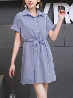 Blue and White Stripe Loose Stripe Shirt Band Belt Seem-Two Above Knee Dress for Casual Party Office