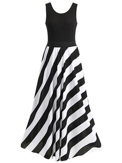 Black and White Plus Size A-Line Knitted Stripe Adjustable Waist Contrast Linking  Maxi Plus Size Dress for Ball Prom Cocktail