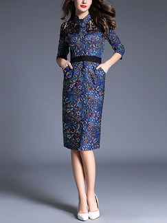 Blue Colorful Slim Lace Contrast Linking Printed Stand Collar Furcal Knee Length Plus Size Dress for Casual Office Evening