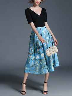 Blue and Black Slim V Neck Full Skirt Pleated Contrast Knitted Printed Midi Plus Size Dress for Casual Party Evening