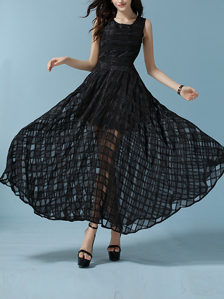 Black Slim Plus Size Full Skirt Chiffon Grid See-Through Maxi Dress for Semi Formal Cocktail