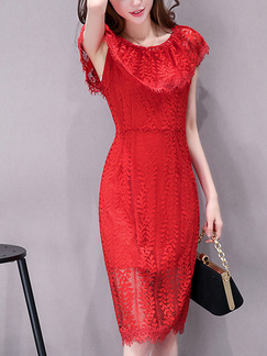 Red Lace Off-Shoulder Slim Plus Size Ruffled Knee Length Dress for Party Evening Semi Formal