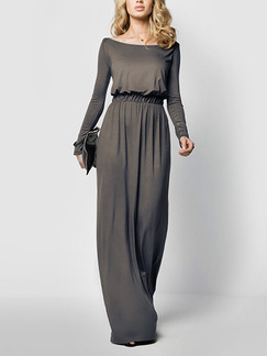 Grey Knitted Adjustable Waist Plus Size Maxi Long Sleeve Dress for Semi Formal Cocktail