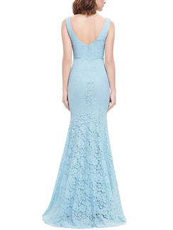 Blue Lace Plus Size Over-Hip Fishtail V Neck Open Back Maxi Dress for Cocktail Prom Bridesmaid