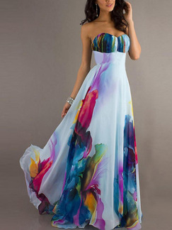 Colorful Chiffon Slim Plus Size Full Skirt Strapless Located Printing Dress for Prom Ball