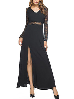 Black Chiffon V Neck Lace Linking Furcal See-Through Plus Size Long Sleeve Dress for Semi Formal Cocktail