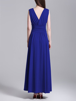 Blue Chiffon Slim Pleated A-Line V Neck Open Back Plus Size Dress for Semi Formal Party Evening