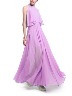 Purple Plus Size A-Line Stand Collar Off-Shoulder Seem-Two Furcal Cute Dress for Semi Formal Prom Cocktail
