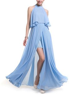 Blue Plus Size A-Line Stand Collar Off-Shoulder Seem-Two Furcal Cute Dress for Semi Formal Prom Cocktail
