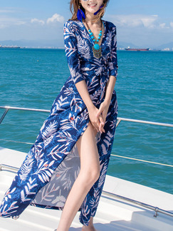 Blue and White Chiffon Full Skirt V Neck Printed Band Belt Cardigan Plus Size Dress for Casual Beach