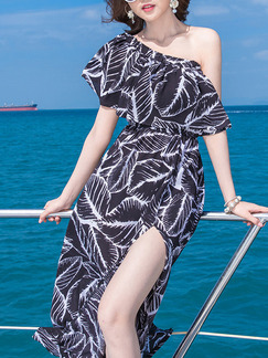 Black and White Chiffon A-Line Furcal Ruffled Printed  Dress for Casual Beach