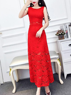 70a738ef4f Red Lace Chinese Slim Plus Size Linking Ruffled Chinese Button Midi ...