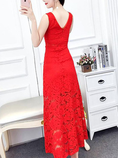 Red Lace Slim A-Line Open Back See-Through Plus Size Dress for Casual Party Office