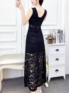 Black Lace Slim A-Line Open Back See-Through Plus Size Dress for Casual Party Office