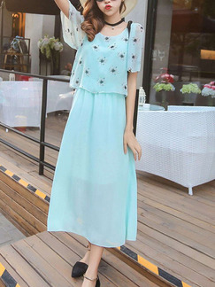 Blue Green Chiffon Seem-Two Printed Band Belt Plus Size Dress for Casual