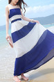 Blue and White Stripe Chiffon Plus Size Adjustable Waist Dress for Casual Beach