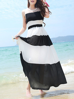 Black and White Stripe Chiffon Plus Size Adjustable Waist Dress for Casual Beach
