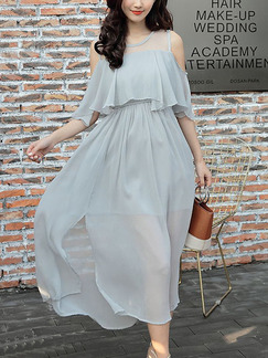 Grey Chiffon Off-Shoulder Ruffled Adjustable Waist Furcal See-Through Plus Size Dress for Casual Party