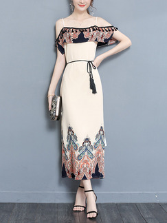 e0219b8642 Cream Off-Shoulder Tassels Located Printing Furcal Plus Size Dress for  Party Evening Semi Formal