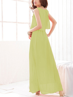 Green Chiffon Plus Size Seem-Two Pleated Dress for Casual Party Evening