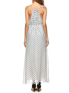 White and Black Polka Dot Chiffon Off-Shoulder Slim A-Line Plus Size Printed Band Belt Ruffled Maxi Dress for Casual Party Beach