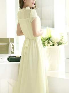 White Chiffon Slim A-Line Buckled Ruffled Band Belt Plus Size Midi Dress for Casual Party