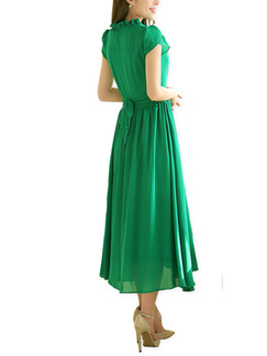 Green Chiffon Slim A-Line Buckled Ruffled Band Belt Plus Size Midi Dress for Casual Party