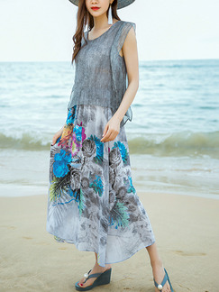 Grey Colorful Chiffon Loose Seem-Two A-Line Linking Contrast Printed Plus Size Dress for Casual Beach