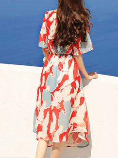 Red Colorful Chiffon V Neck Loose A-Line Furcal Ruffled Printed Dress for Casual Beach